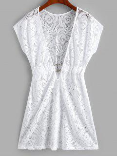 Plunge Lace See Thru Ring Cover Up Dress - White