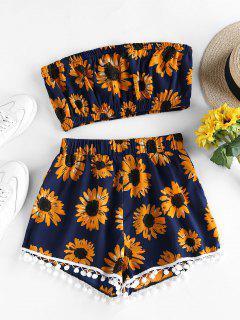 ZAFUL Sunflower Pompom Trim Bandeau Two Piece Set - Dark Slate Blue M