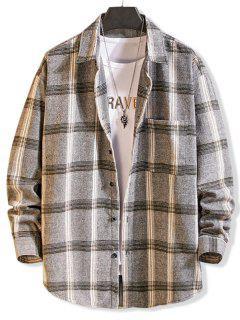 Long Sleeve Plaid Pocket Button Shirt - Light Gray M