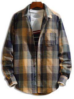 Plaid Long Sleeve Button Chest Pocket Shirt - Multi Xl