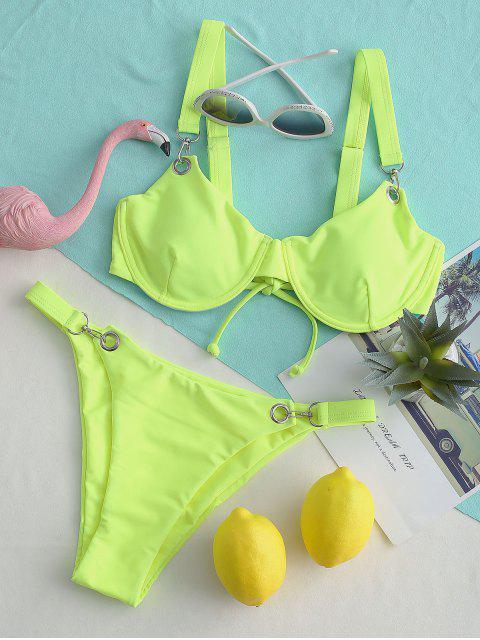 ZAFUL Bikini con Aros de Gancho a Presión - Verde Amarillo L Mobile