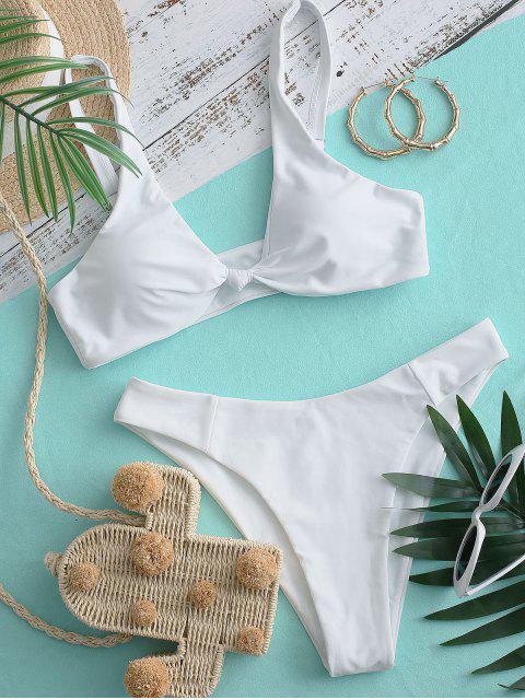 ZAFUL Bikini de Corte Alto con Lazo - Blanco L Mobile