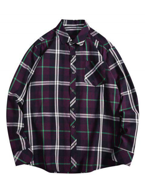 Imprimir Casual Plaid Button bolsillo de la camisa - Pastel de Ciruela L Mobile