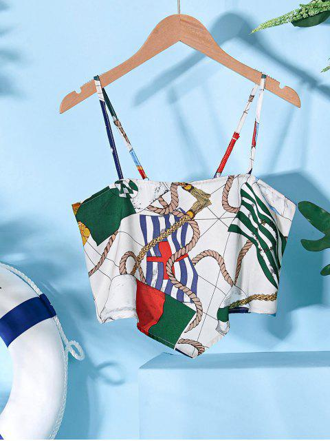 ZAFUL Camiseta Corta con Estampado de Bandera Cuerda - Multicolor XL Mobile