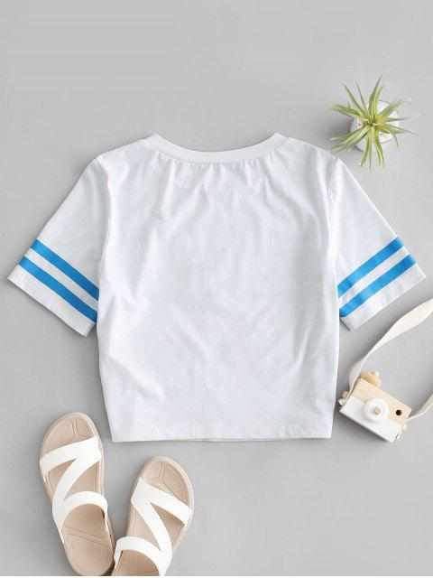 new ZAFUL Striped Short Sleeve Crop Sailor Tee - WHITE L Mobile