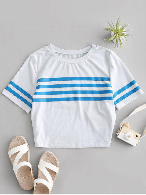 outfit ZAFUL Striped Short Sleeve Crop Sailor Tee - WHITE XL Mobile