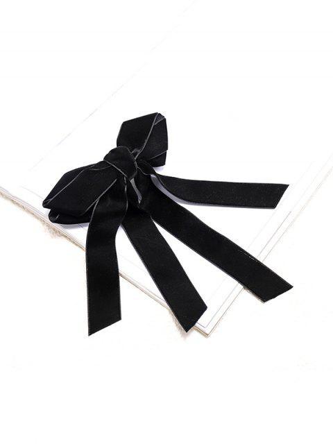 Велюровая Заколка для волос С бантом - Чёрный  Mobile