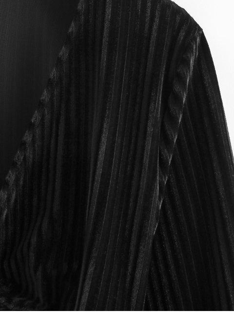 latest Twisted Velvet Plunging Crop Blouse - BLACK M Mobile