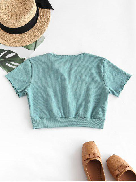 fashion Ribbed Mock Button Crop T-shirt - LIGHT SEA GREEN S Mobile
