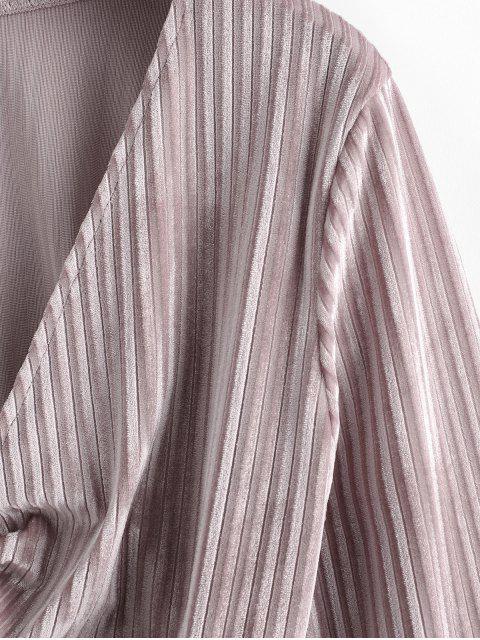 affordable Twisted Velvet Plunging Crop Blouse - PINK ROSE S Mobile