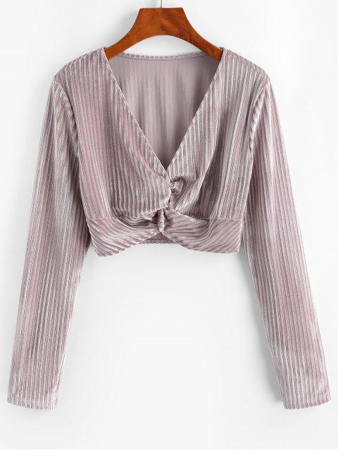 women's Twisted Velvet Plunging Crop Blouse - PINK ROSE L Mobile