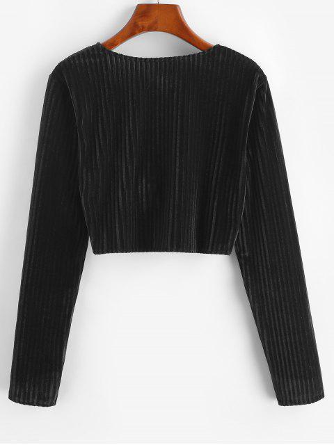 hot Twisted Velvet Plunging Crop Blouse - BLACK L Mobile