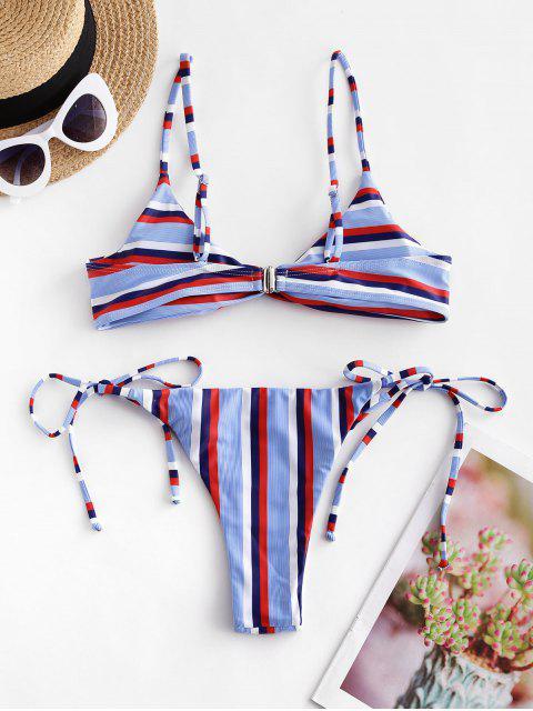 Bikini de Atado con Frente de Giro a Rayas ZAFUL - Multicolor-A L Mobile