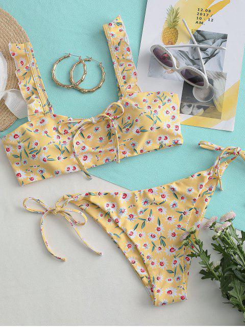 ZAFUL Maillot de Bain Bikini Fleuri Imprimé Noué à Volants - Multi-A S Mobile