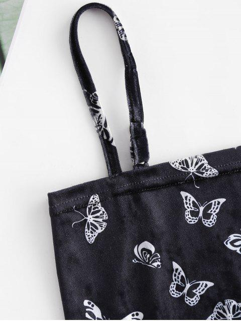 Haut à Bretelle Court Papillon Imprimé en Velours - Noir S Mobile