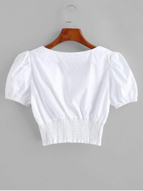 shops Smocked Ruched Sweetheart Crop Blouse - SILK WHITE M Mobile