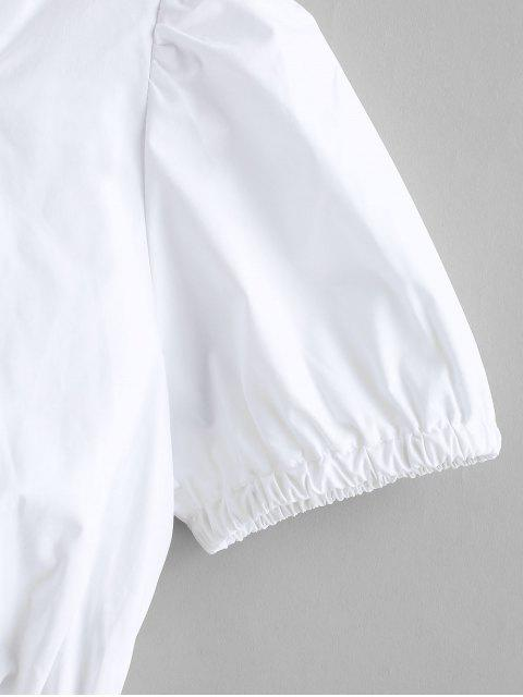 fancy Smocked Ruched Sweetheart Crop Blouse - SILK WHITE S Mobile