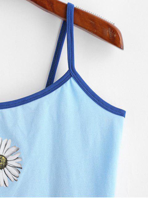 Top Cami Barriga de Fora de Crochê Frizado Cortado - Azul de Céu Claro S Mobile