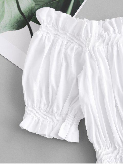 affordable Ruffle Off Shoulder Crop Blouse - WHITE S Mobile