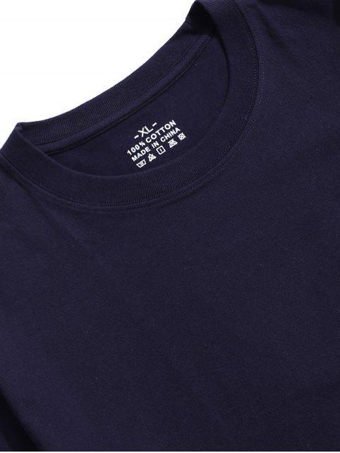 T-Shirt in Tinta Unita con Maniche Corte - Profondo blu 2XL Mobile
