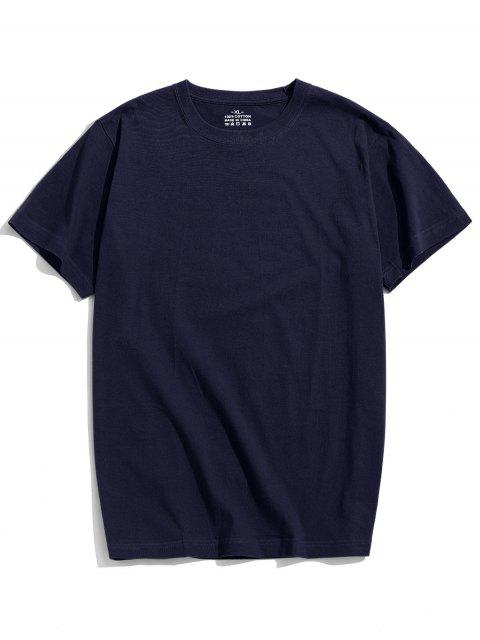 women's Solid Color Short Sleeve T-shirt - DEEP BLUE 2XL Mobile