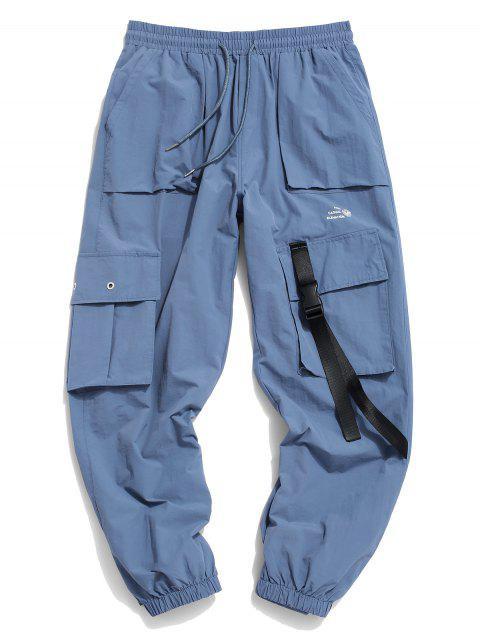 Pantalones de Carga con Estampado de Letras de Bolsillo de Solapa - Azul Denim S Mobile