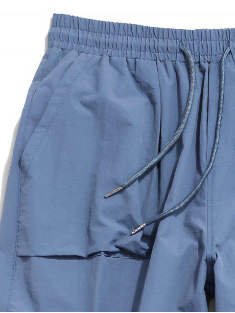 Pantalones de Carga con Estampado de Letras de Bolsillo de Solapa - Azul Denim M Mobile