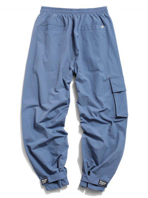 Pantalones de Carga con Estampado de Letras de Bolsillo de Solapa - Azul Denim L Mobile