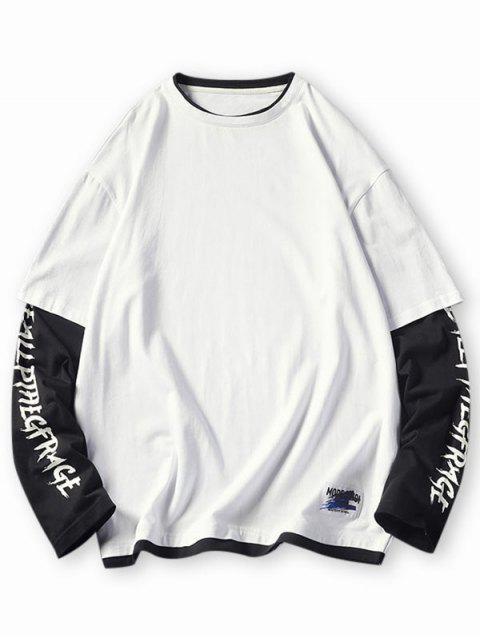 Maglietta a Blocchi di Colori a Lettera - Bianca 4XL Mobile