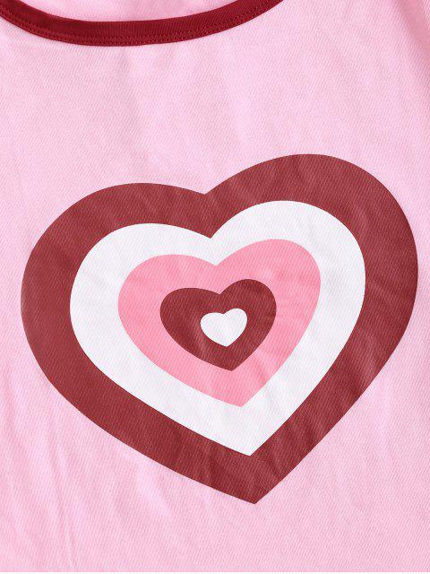 T-shirt Court Cœur Imprimé - Rose Rosé S Mobile