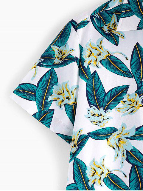 affordable ZAFUL Leaf Floral Pattern Casual Shirt - MULTI S Mobile