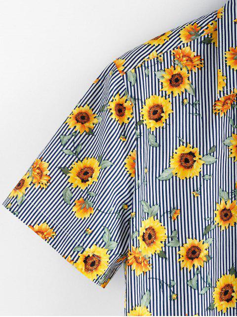 ZAFUL Blumenmuster Knopf Kurzen Ärmeln Hemd - Multi S Mobile