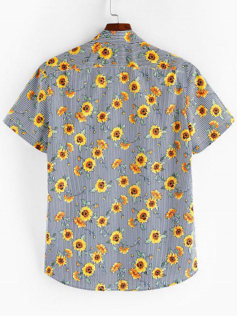 unique ZAFUL Floral Pattern Button Short Sleeves Shirt - MULTI 2XL Mobile