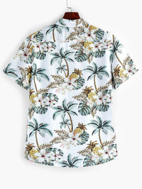 fancy ZAFUL Leaf Floral Printed Short Sleeves Shirt - MULTI S Mobile