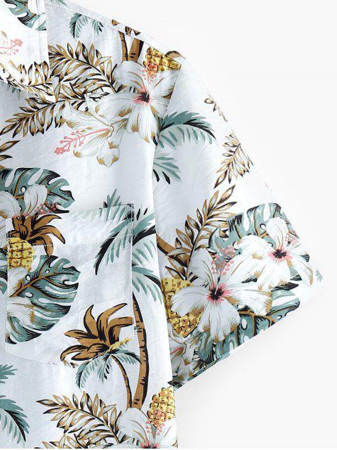 ZAFUL Camisa de Manga Corta de Impresión Floral de Hoja - Multicolor L Mobile