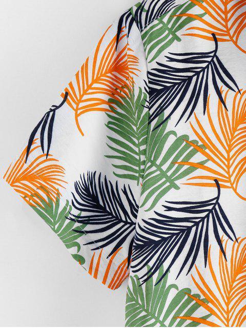 chic ZAFUL Leaf Print Short Sleeves Button Shirt - MULTI 2XL Mobile