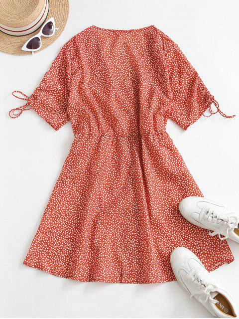 women's Button Up Cinched Sleeve Ditsy Floral Mini Dress - RED S Mobile