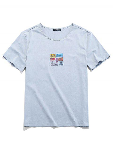 shop ZAFUL Graphic Print Short Sleeves T-shirt - LIGHT GRAY XL Mobile