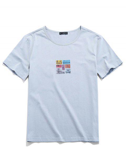 ZAFUL Camiseta Corta con Manga Estampada de Gráfico - Gris Claro 2XL Mobile