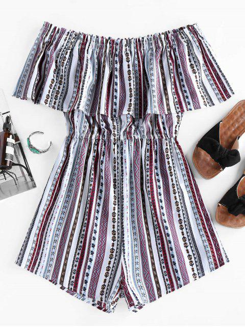 trendy ZAFUL Off Shoulder Ruffled Tribal Print Romper - MULTI M Mobile