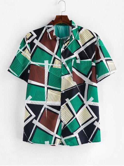 sale ZAFUL Striped Geometric Print Short Sleeve Button Shirt - MULTI M Mobile