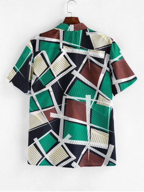 ZAFUL Striped Geometric Print Short Sleeve Button Shirt - متعدد XL Mobile