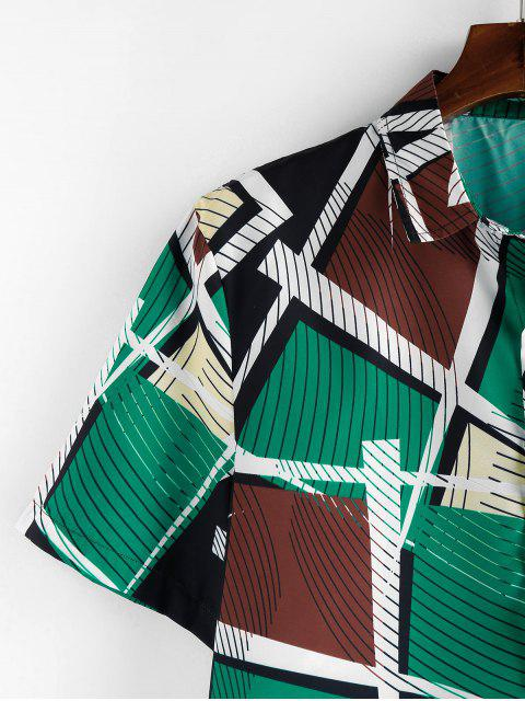 womens ZAFUL Striped Geometric Print Short Sleeve Button Shirt - MULTI 2XL Mobile