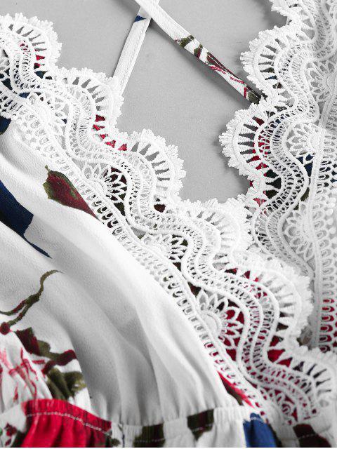 ZAFUL Mono Femenino de Flores con Cordones Cruzados y Encaje - Blanco XL Mobile