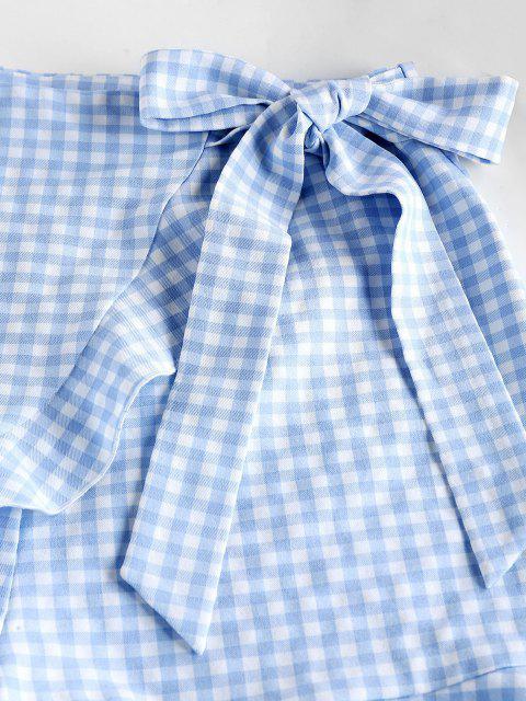 hot ZAFUL Gingham Bowknot Ruffle Overlap Shorts - POWDER BLUE S Mobile