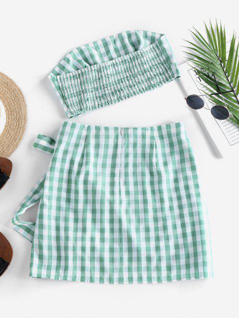 womens ZAFUL Gingham Smocked Strapless Tulip Skirt Set - LIGHT GREEN XL Mobile