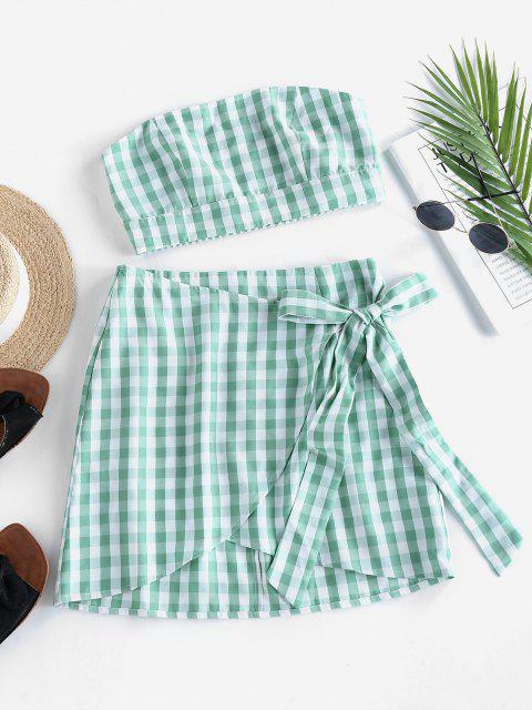 fashion ZAFUL Gingham Smocked Strapless Tulip Skirt Set - LIGHT GREEN S Mobile
