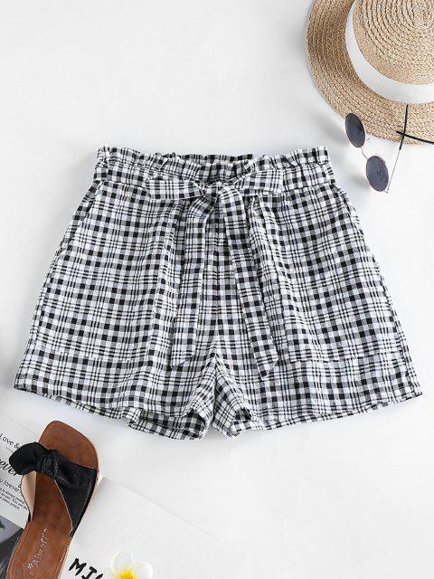 womens ZAFUL Plaid Bowknot Pocket Casual Shorts - BLACK M Mobile