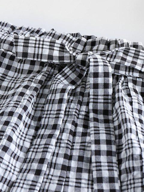 online ZAFUL Plaid Bowknot Pocket Casual Shorts - BLACK L Mobile