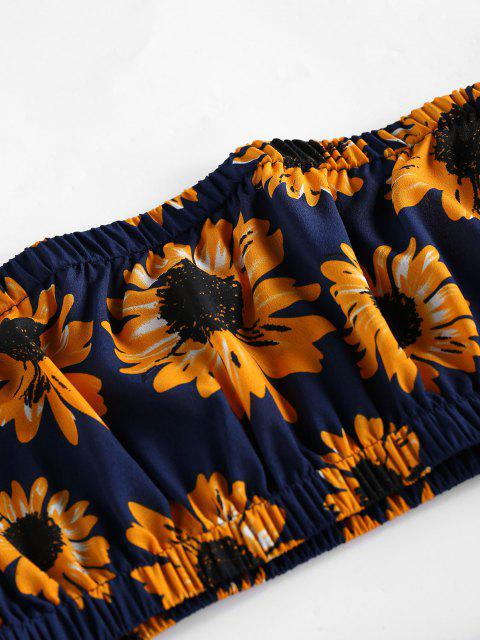 Top a Fascia e Pantaloncini con Bordi Stampati a Girasole con Pompon di ZAFUL - Blu  Ardesia Scura M Mobile